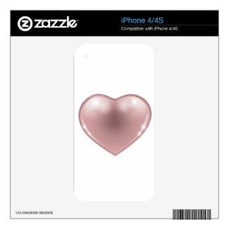 Corazón rosado calcomanías para iPhone 4S