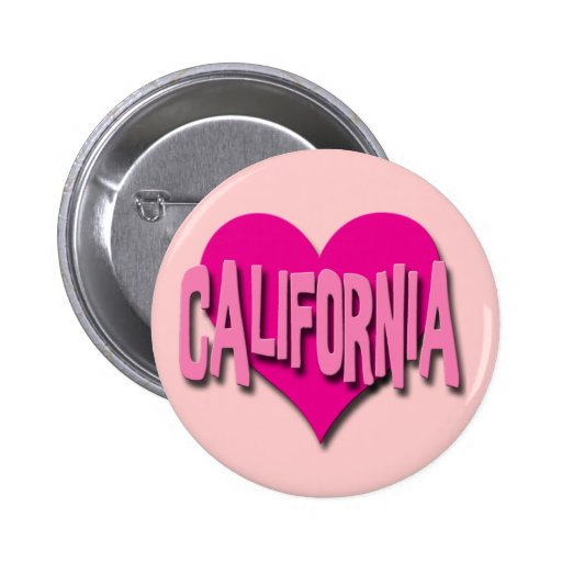 CORAZÓN ROSADO CALIFORNIA PIN REDONDO 5 CM