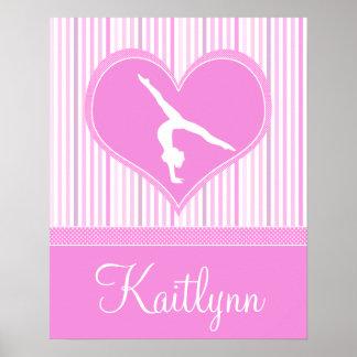 Corazón rosado con las rayas y el gimnasta blancos póster