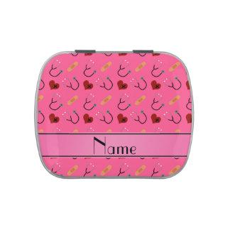 Corazón rosado conocido personalizado del vendaje jarrones de caramelos
