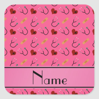 Corazón rosado conocido personalizado del vendaje pegatina cuadrada