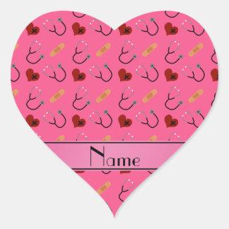 Corazón rosado conocido personalizado del vendaje pegatina en forma de corazón