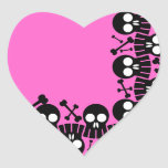 Corazón rosado - cráneos y pegatinas de los huesos pegatinas de corazon personalizadas