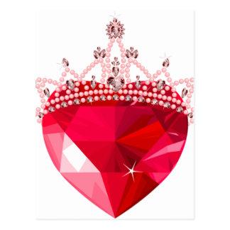 Corazón rosado cristalino con la corona tarjetas postales