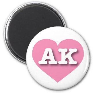 Corazón rosado de Alaska - amor grande Imán Redondo 5 Cm