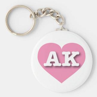 Corazón rosado de Alaska - amor grande Llavero Redondo Tipo Pin