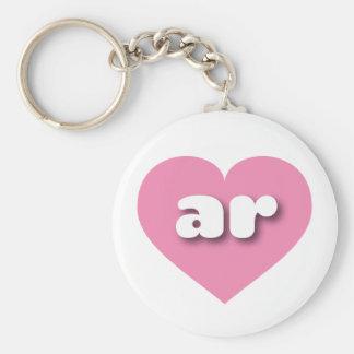Corazón rosado de Arkansas AR Llavero Redondo Tipo Pin