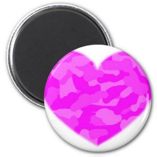 Corazón rosado de Camo Imanes Para Frigoríficos