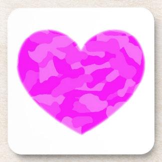 Corazón rosado de Camo Posavasos