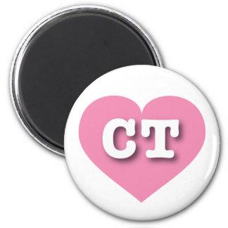 Corazón rosado de Connecticut - amor grande Imán Redondo 5 Cm