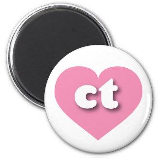 Corazón rosado de Connecticut - mini amor Imán Redondo 5 Cm