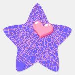 Corazón rosado de cristal quebrado calcomanías forma de estrellaes