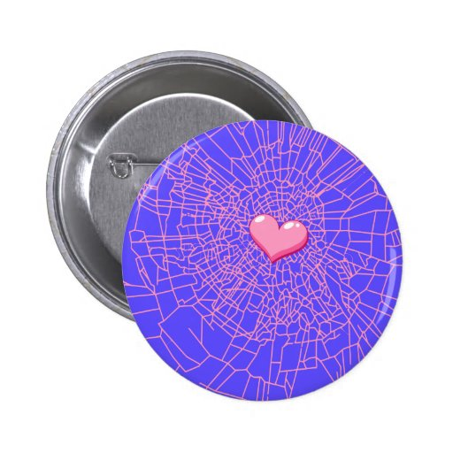 Corazón rosado de cristal quebrado pin redondo 5 cm