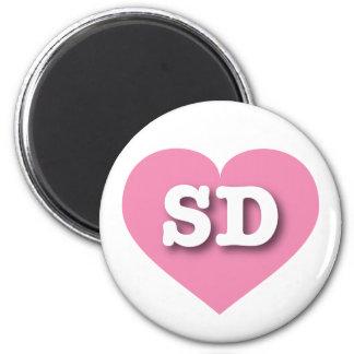 Corazón rosado de Dakota del Sur - amor grande Imán Redondo 5 Cm