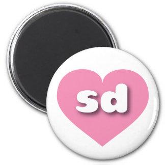 Corazón rosado de Dakota del Sur - mini amor Imán Redondo 5 Cm