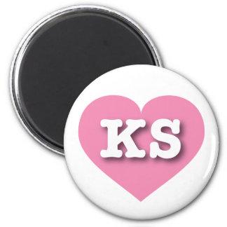 Corazón rosado de Kansas - amor grande Imán Redondo 5 Cm