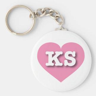 Corazón rosado de Kansas - amor grande Llavero Redondo Tipo Pin