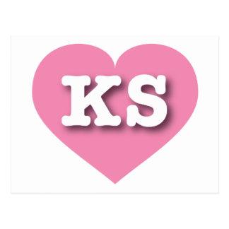 Corazón rosado de Kansas KS Postal