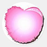 Corazón rosado de la burbuja de la chispa pegatinas redondas