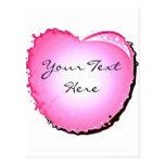 Corazón rosado de la burbuja de la chispa postal