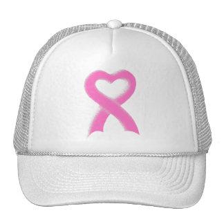 Corazón rosado de la cinta gorras