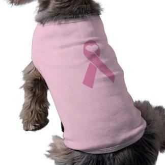 Corazón rosado de la cinta playera sin mangas para perro