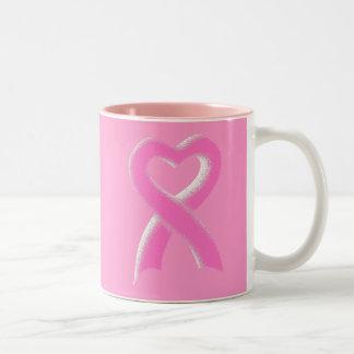 Corazón rosado de la cinta taza de dos tonos