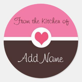 """Corazón rosado """"de la cocina"""" del pegatina"""