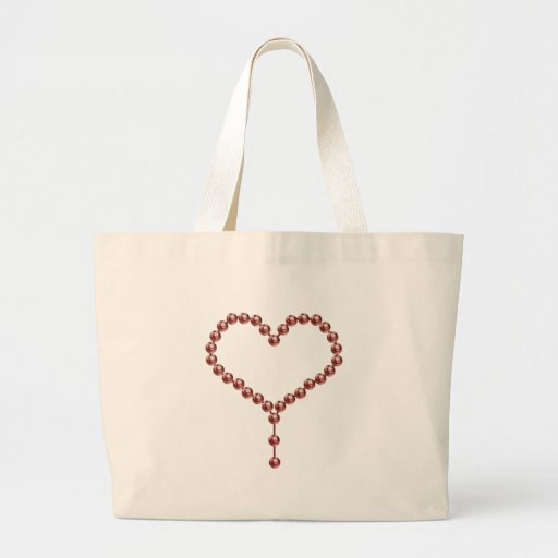 Corazón rosado de la perla bolsa tela grande