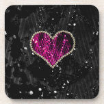 Corazón rosado de la perla posavasos de bebida