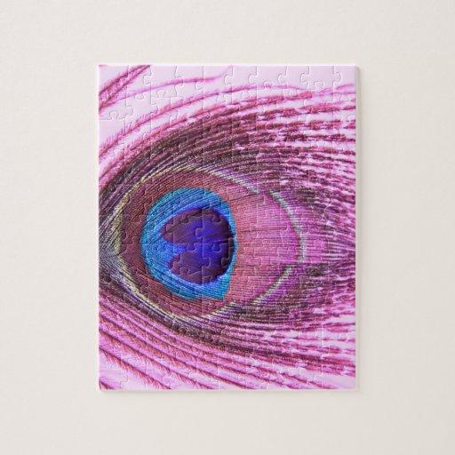 Corazón rosado de la pluma del pavo real puzzle con fotos