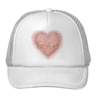 Corazón rosado de la tarjeta del día de San Valent Gorros Bordados