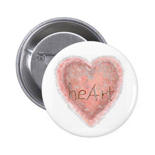 Corazón rosado de la tarjeta del día de San Valent Pins