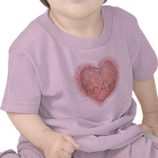 Corazón rosado de la tarjeta del día de San Valent Camisetas