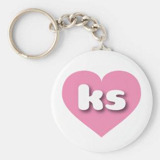 Corazón rosado de los ks de Kansas Llaveros