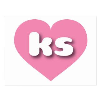 Corazón rosado de los ks de Kansas Postal