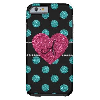 Corazón rosado de los lunares de la turquesa del funda de iPhone 6 tough