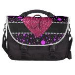 Corazón rosado de los lunares púrpuras del monogra bolsas para ordenador