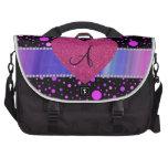 Corazón rosado de los lunares púrpuras del monogra bolsas para portatil