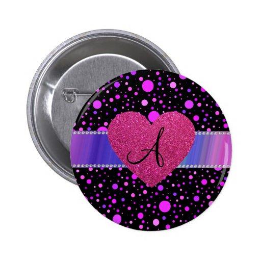 Corazón rosado de los lunares púrpuras del monogra pins