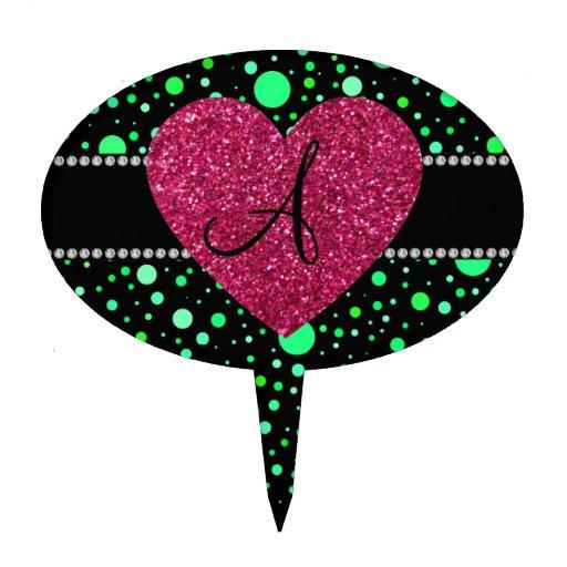 Corazón rosado de los lunares verdes del monograma decoración de tarta