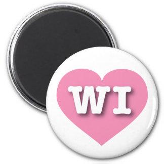 Corazón rosado de los WI de Wisconsin Imán Redondo 5 Cm