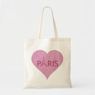 Corazón rosado de moda de París de la torre Eiffel Bolsa Tela Barata