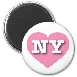 Corazón rosado de Nueva York - amor grande Imán Redondo 5 Cm