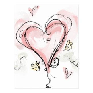 Corazón rosado de Scribbly Tarjetas Postales