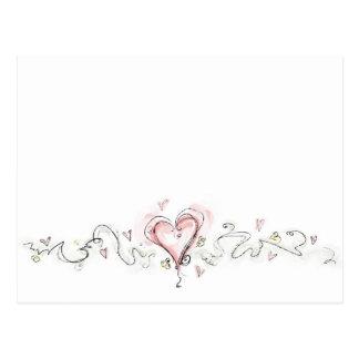 Corazón rosado de Scribbly Postales