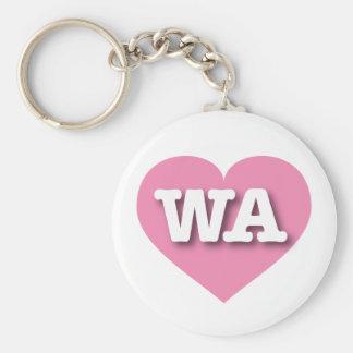 Corazón rosado de Washington WA Llaveros Personalizados