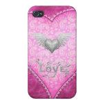 Corazón rosado del amor de Paisley y corazón con l iPhone 4/4S Carcasas