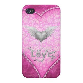 Corazón rosado del amor de Paisley y corazón con l iPhone 4 Carcasa