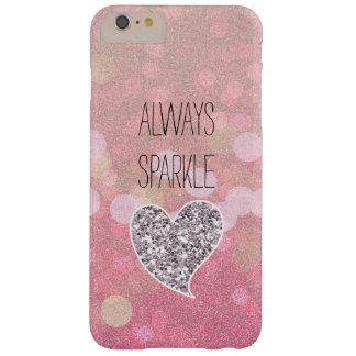 Corazón rosado del brillo de la plata de la chispa funda de iPhone 6 plus barely there